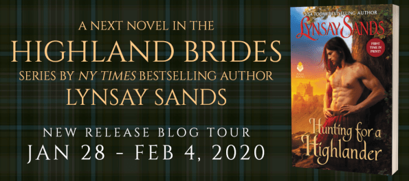 A next novel in the Highalnd Beides series by NY Times bestselling author Lynsay Sands new release blog tour banner