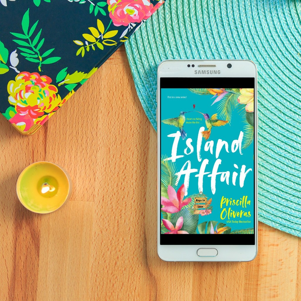 Island Affair ebook, candle, sun hat, and tropical print bag