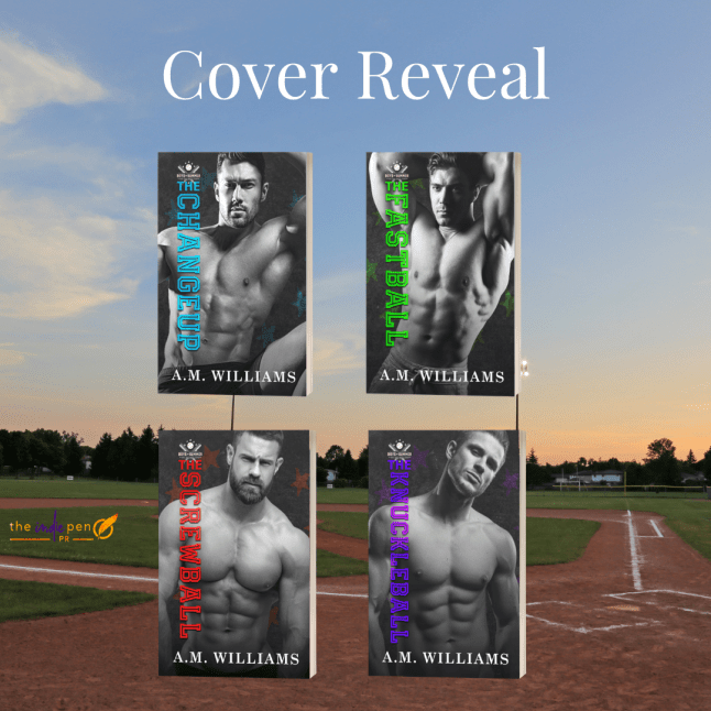 Cover reveal graphic covers of THE CHANGEUP, THE FASTBALL, THE SCREWBALL, and THE KNUCKLEBALL superimposed over a picture of a baseball diamond