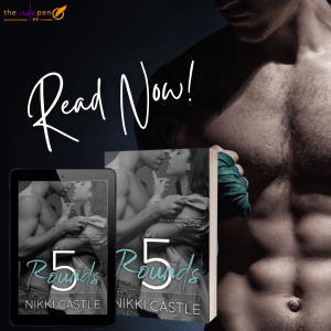 5 Rounds  read now! graphic with ebook and print covers superimposed over male model's abs