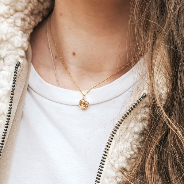 Choose feminine florals with our Rose Necklace in Gold