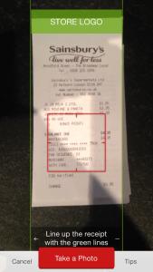 Scanning the receipt