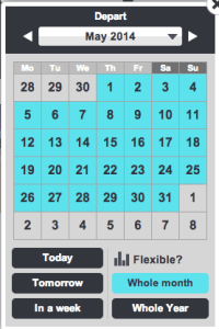 Month view on SkyScanner