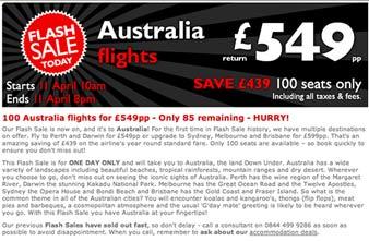 Oz Flights Flash Sale