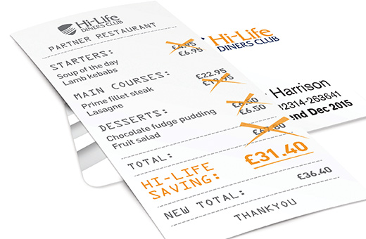 Free six month Hi-Life 2-4-1 restaurants membership