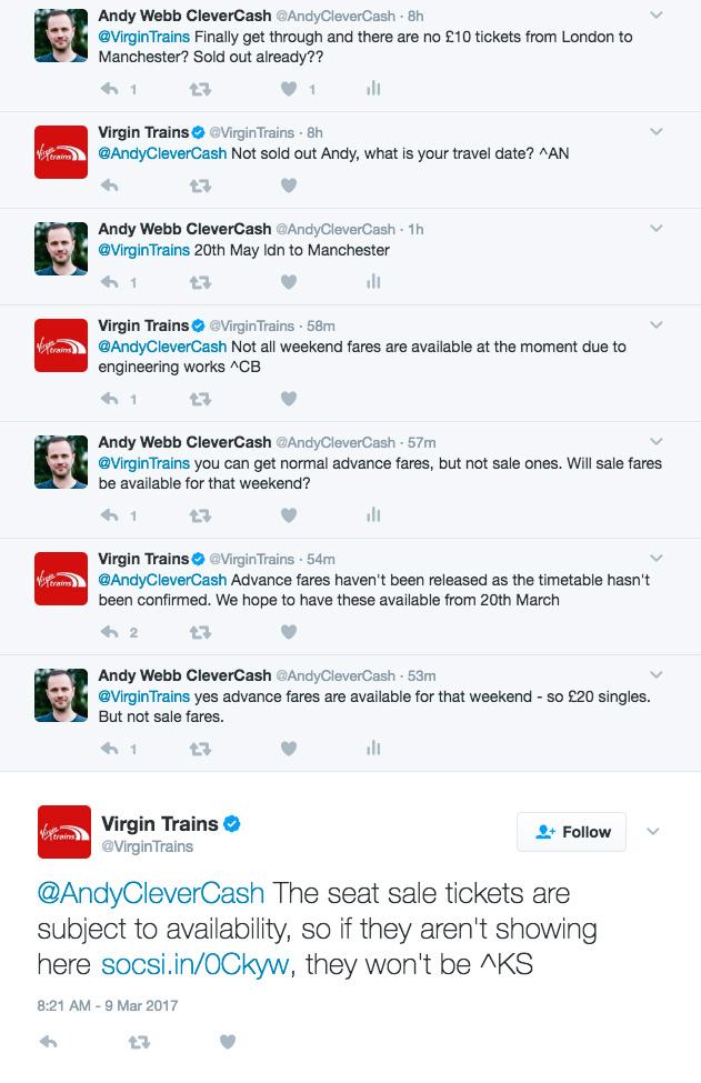 Virgin Trains sale twitter