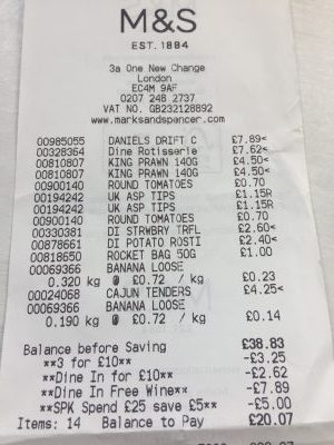 M&S food receipt