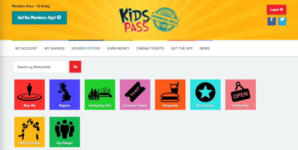 Kids Pass member offers