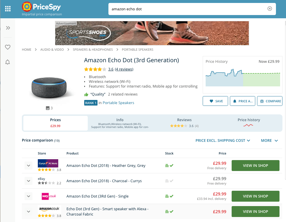 Price comparison for an Echo Dot via PriceSpy