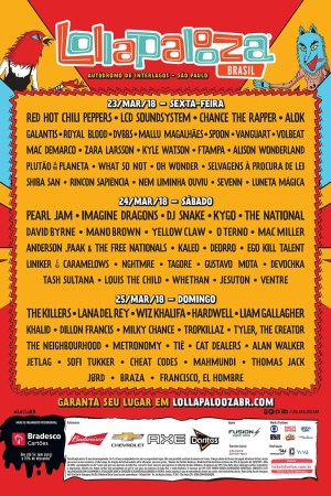 Lollapalooza 2018 divulga programação por dia, vem ver!
