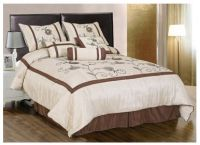 7 Piece Embroidery Water Lily Comforter Set Bed-in-a-bag ...