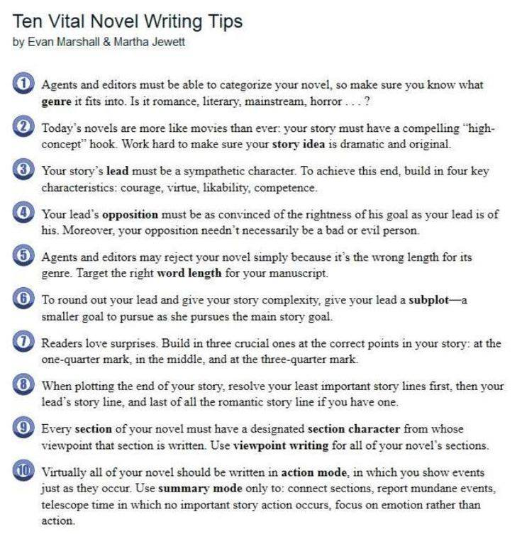 Ten Vital Novel Writing Tips  Become Empowered