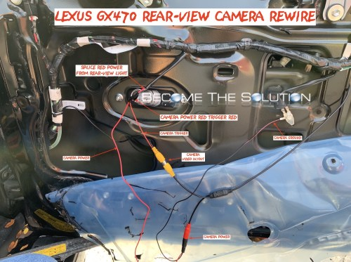 small resolution of lexus gx470 rear view cmaera wiring rewire aftermarket reverse wires phoenix android radio
