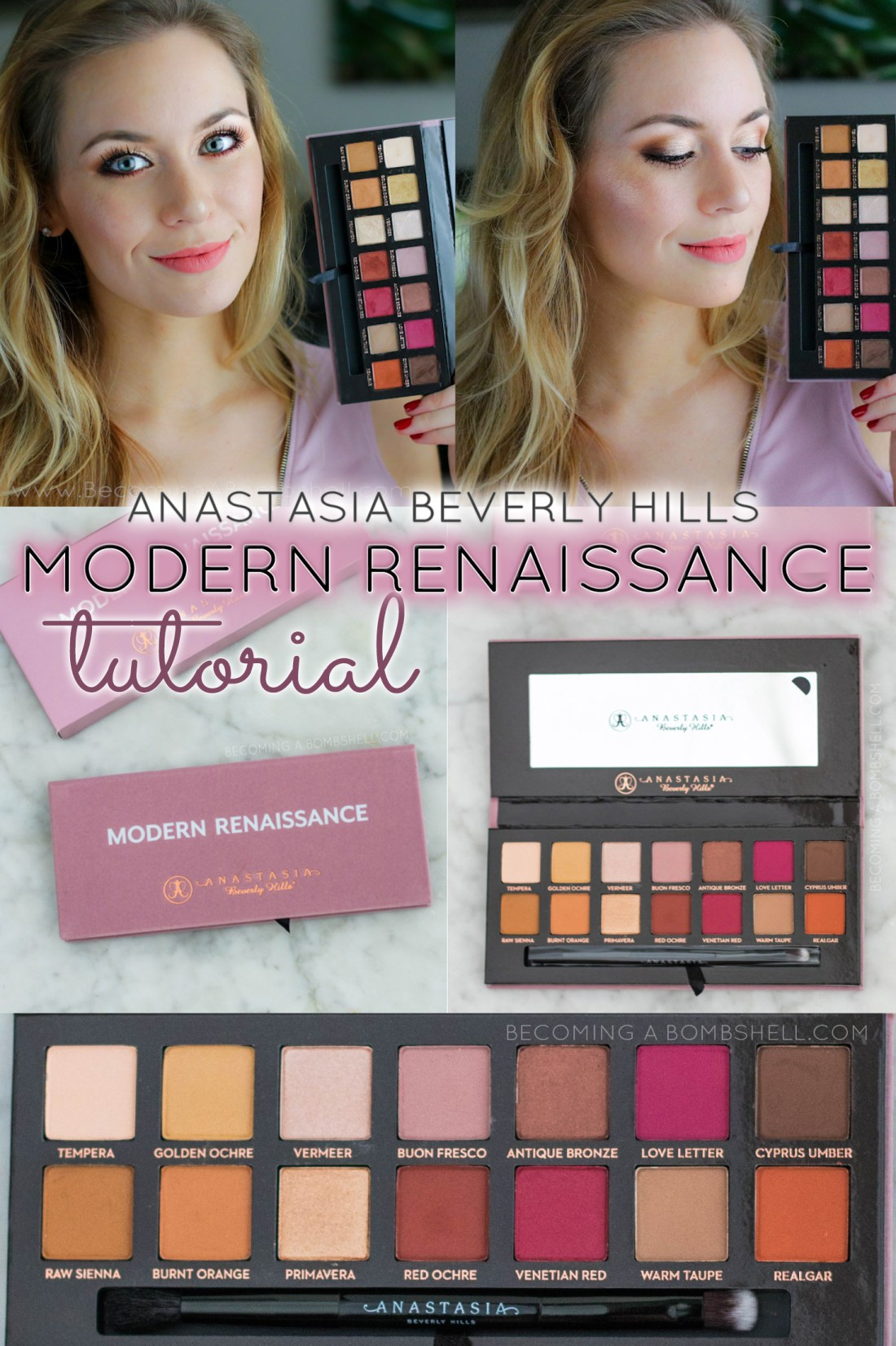 Anastasia Beverly Hills Modern Renaissance Palette Eyeshadow Video Tutorial - Unbelievable pigmentation and the smooth, buttery texture totally surprised me and I have swatched hundreds (thousands?) of eyeshadows. I cannot think of any that share this unique silky smoothness and brilliant blendability. First use yesterday and from my first impressions these are some of the highest quality shadows ever! Everyday, easy & beautiful eyeshadow look.