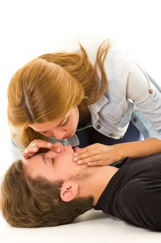 For Emergency Airway Management, pinch the noise and lift up the chin as you tilt back the head to begin mouth breathing.