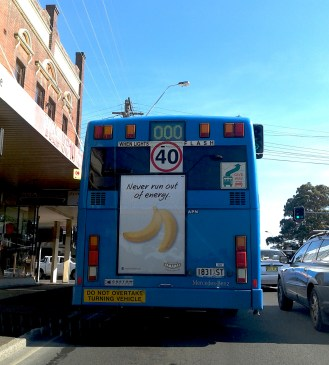 Only in Australia are there ads for bananas.