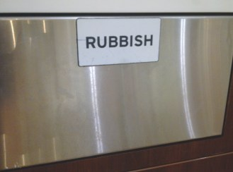 "Our trash signs usually just say ""THANK YOU"" but here they say ""RUBBISH"""