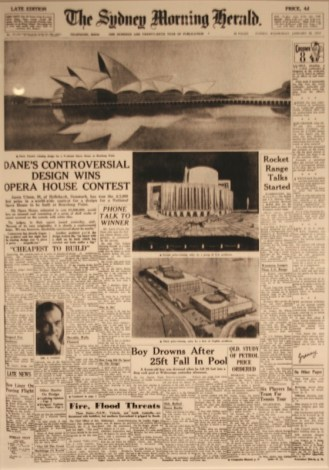 The Sydney Morning Herald cover story featuring the winner of the opera house design contest