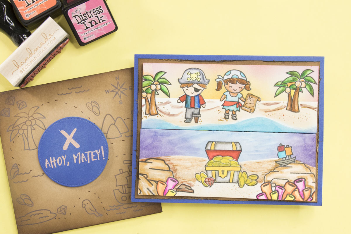 how to make a gatefold card using lawn fawn ahoy matey