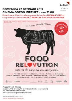 The film poster for Food Relovution. The names for the cuts of meat written on the cow have been replaced with the impacts of the meat/dairy industry: world hunger, greenhouse gas emissions, obesity, deforestation, cancer etc.
