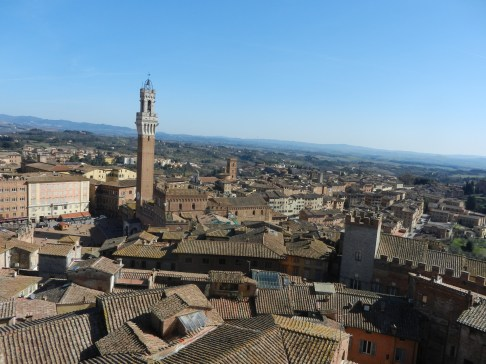 View down to Piazza del Campo and the streets of Siena