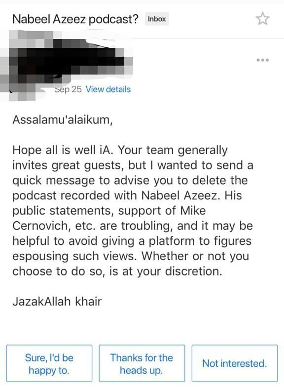 why does nabeel azeez support mike cernovich?