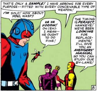 Wasp's shameless objectification of male heroes may be meant to show that she's flighty and shallow, but honestly it never gets old. (Avengers #16)