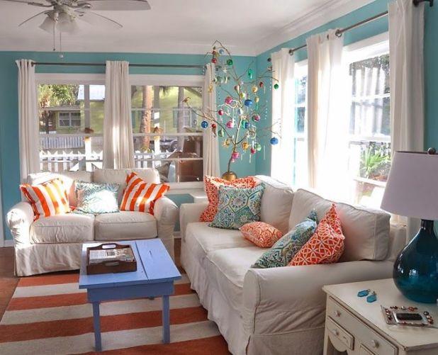 Orange And Turquoise Living Room Decor | Centerfieldbar.com
