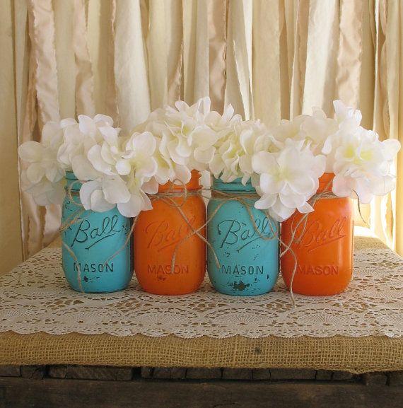 Turquoise and orange decor  becoration