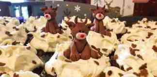 Banana Cupcakes with a reindeer on top