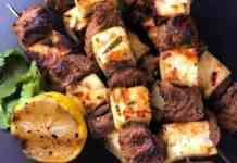 A Plate of Lamb and Halloumi skewers