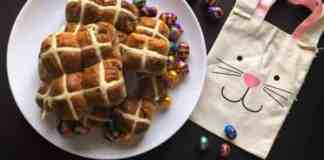 Image of hot cross buns on a plate made in the Thermomix