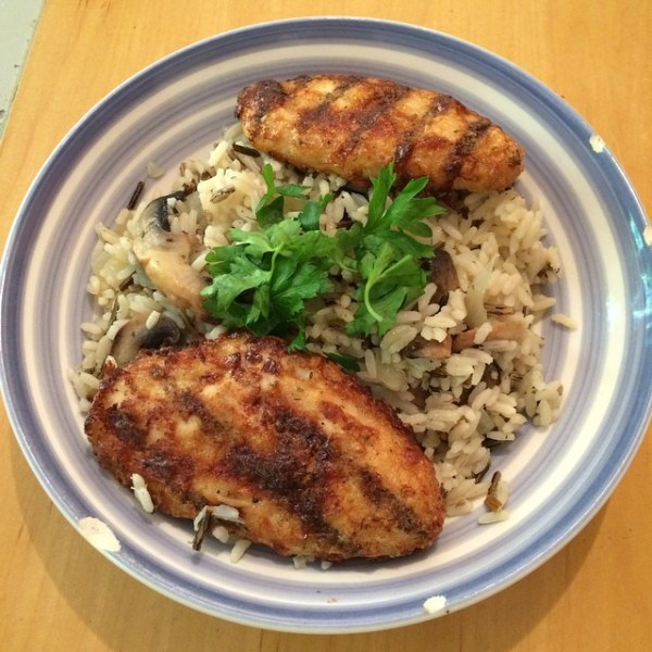 This evenings food! Chargrilled chicken and homemade mushroom and onion wild rice #food