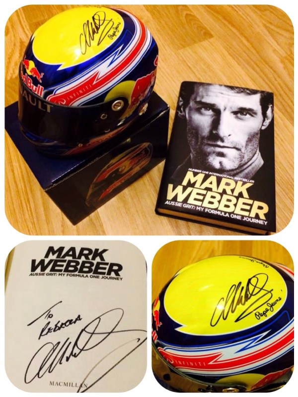 Mark Webber - signed book & helmet