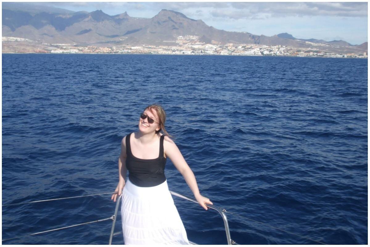 Rebecca on board the catamaran at Tenerife