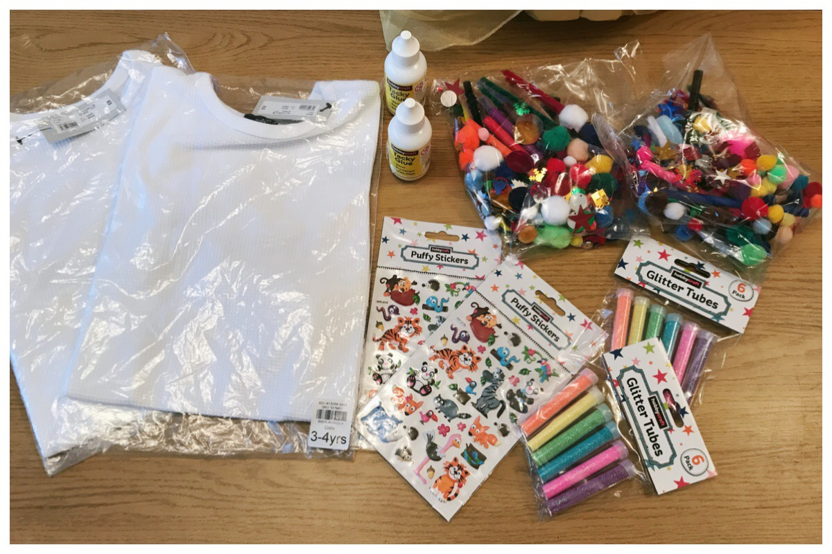 Craft supplies for the River Island design a t shirt competition. Includes stickers, pva glue, glitter... Lots of glitter