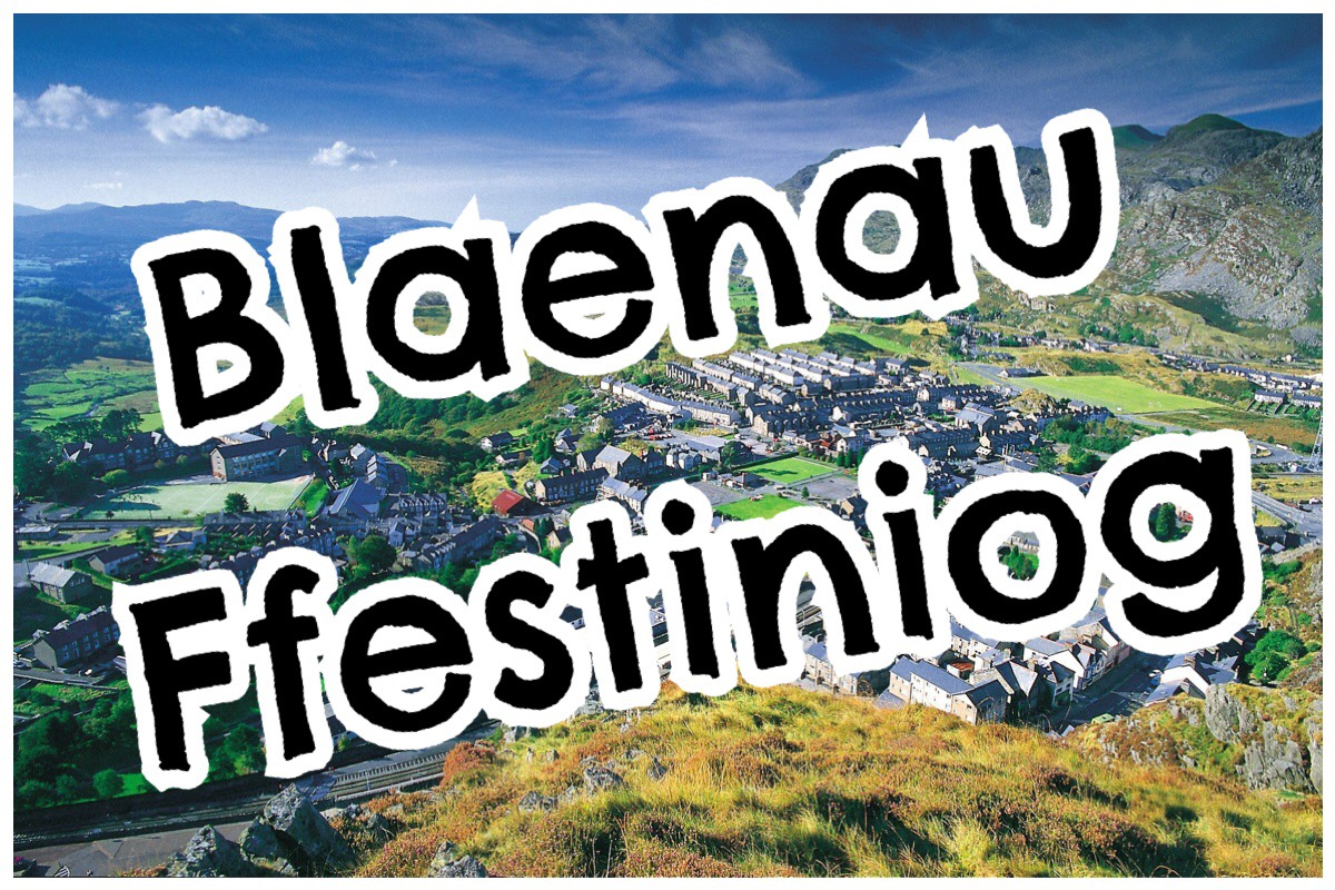 Blaenau Ffestiniog header image with a photo of the town on a sunny day