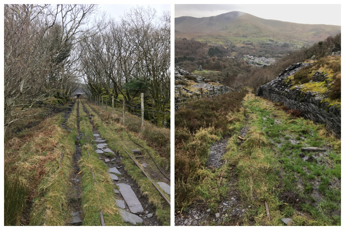 The old incline at Dinowrig Quarry - looking up and looking down towards Dolbadarn Castle