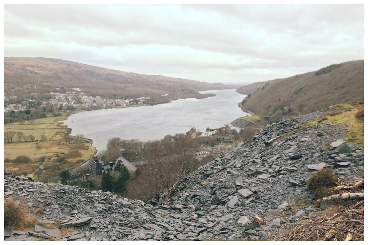 The view of Padarn Lake from the Dinorwig Quarry walk with slate slag heaps in the foreground