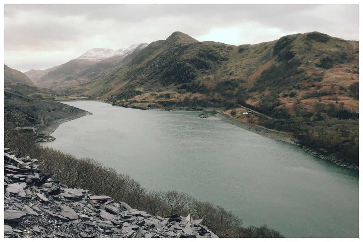The view of Llyn Peris with Snowdon in the background