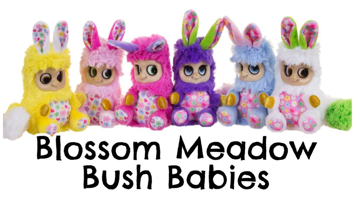 A group of six Blossom Meadow Bush Babies plush toys.