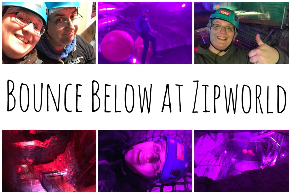 Trampolining at Boucne Below - six different images from the experience including me and my husband wearing hard hats, the netting in the caverns
