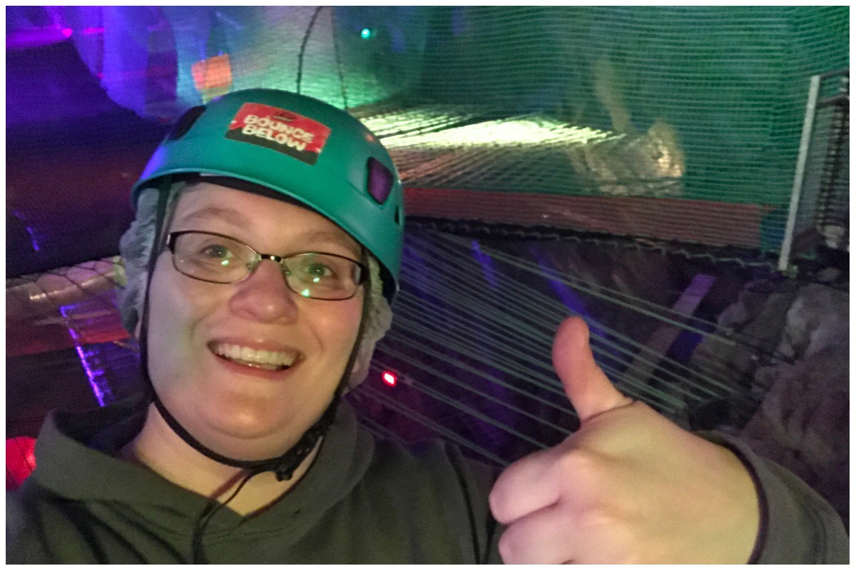 A big thumbs up from me! Photo of me giving a big thumbs up still wearing my hardhat but looking rather sweaty after that work out!