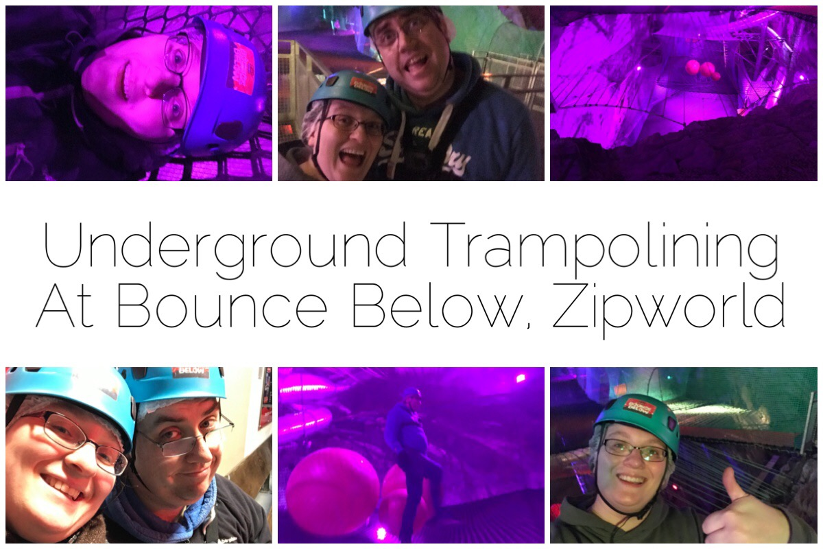 Six different images of us on the underground trampolines at Boucne Below, Zipworld, Blaenau Ffestiniog
