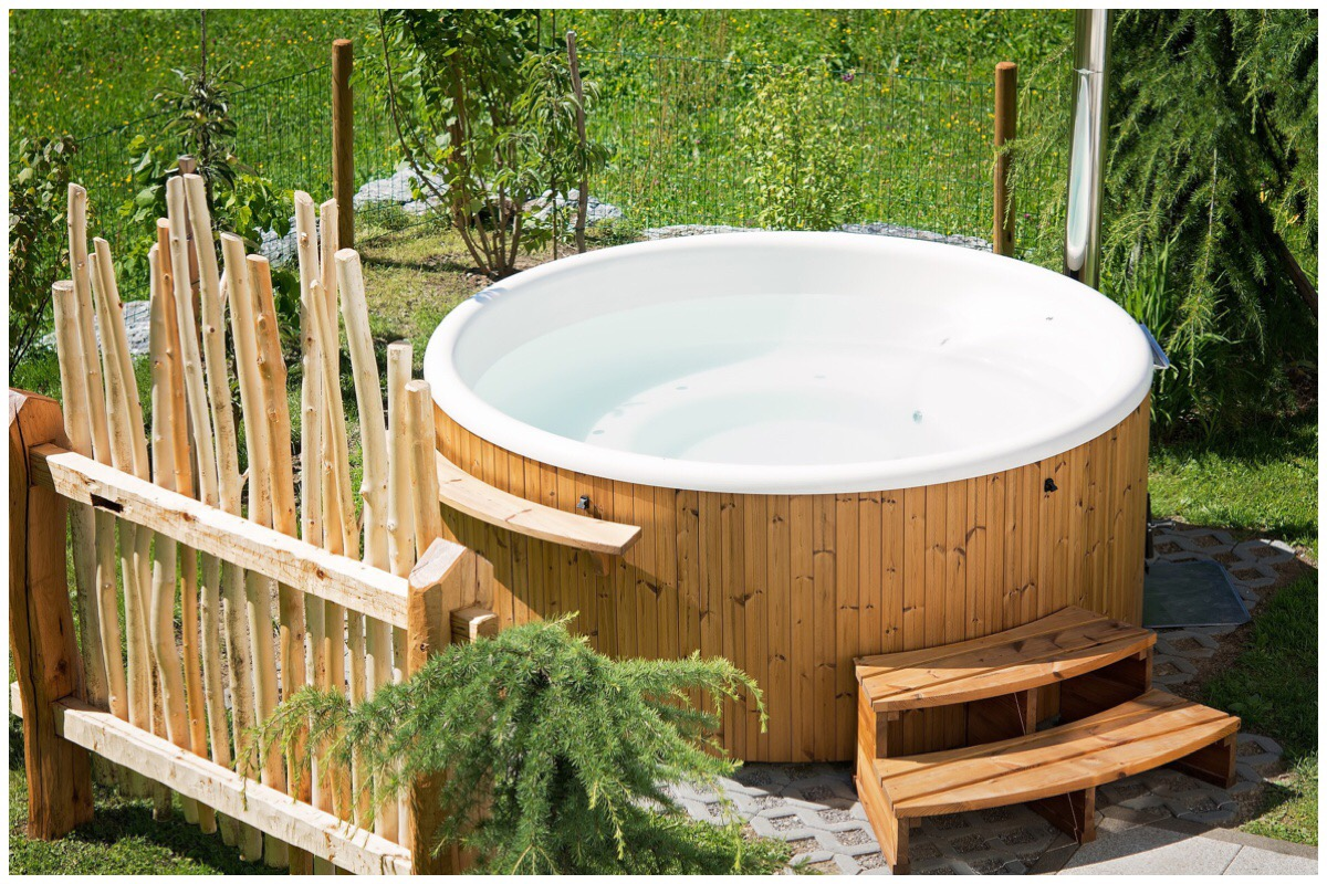 Photo of a hot tub in a garden