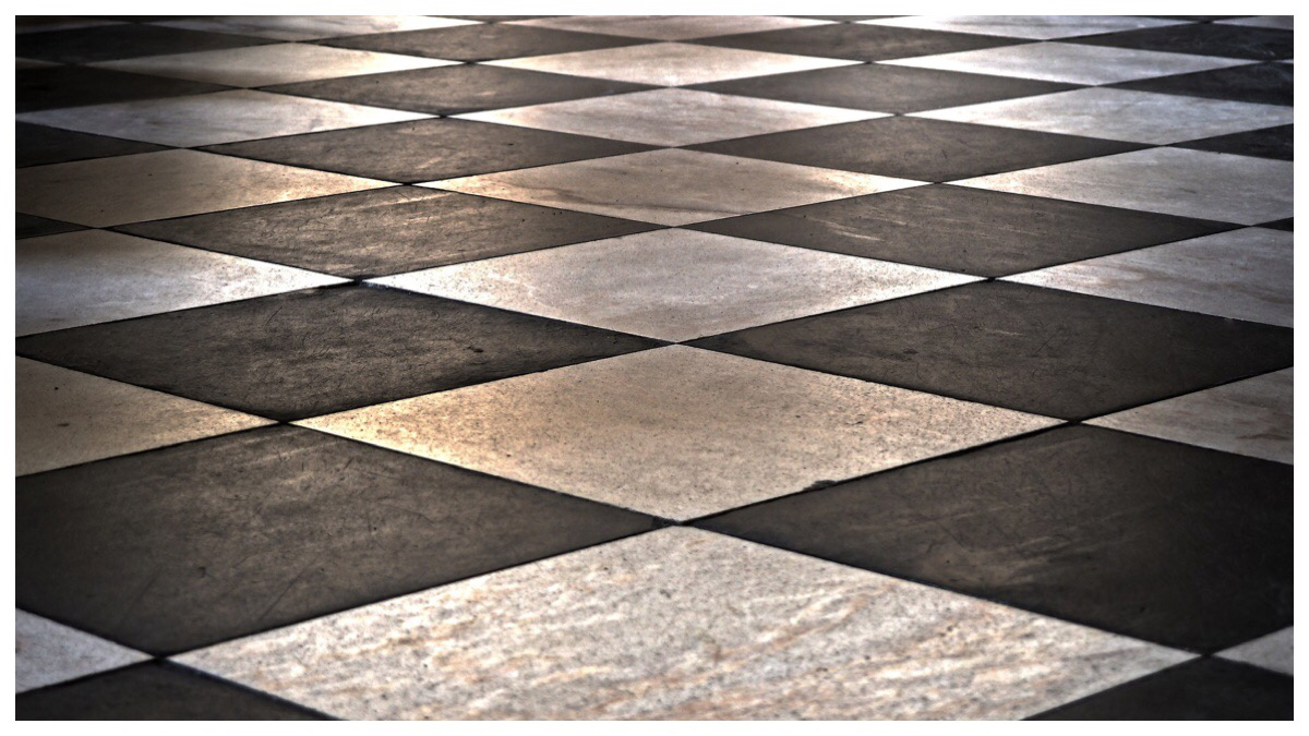 Black and white tiled kitchen floor