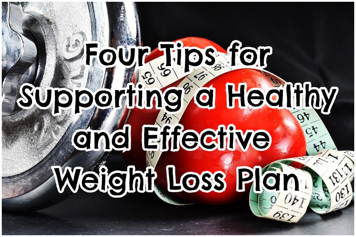 "Header image with the words ""four tips for supporting a healthy and effective weight loss plan"" in big bold letters overlaying an image of weights, a red pepper and measuring tape"
