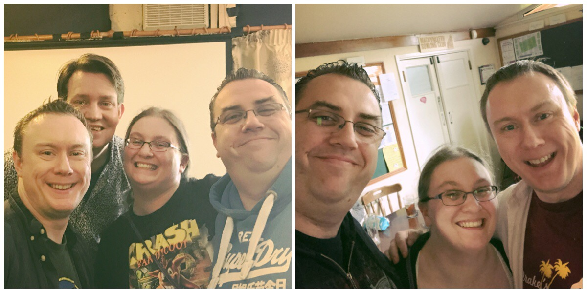 On the left, husband and I pictured with Steve McNeil and Rob Sedgebeer / On the right husband and I with Steve McNeil