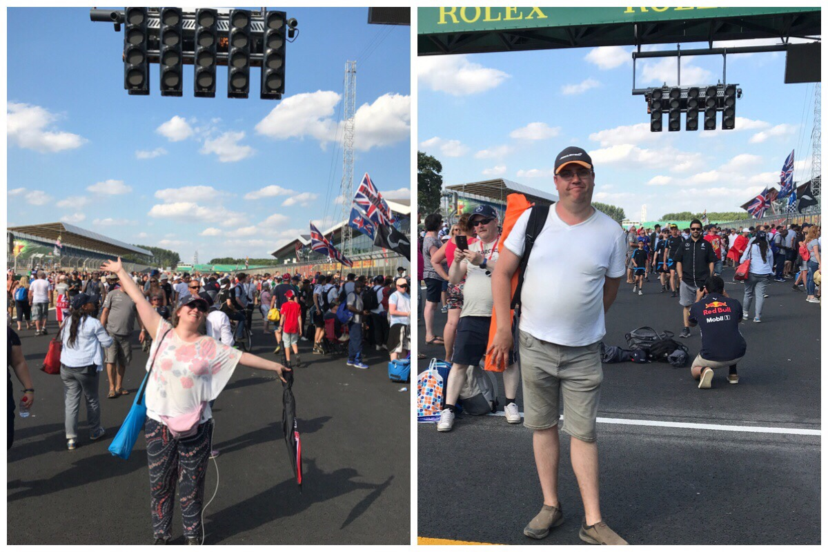 On the left is a photo of me under the starting lights and on the right is the husband under the same lights