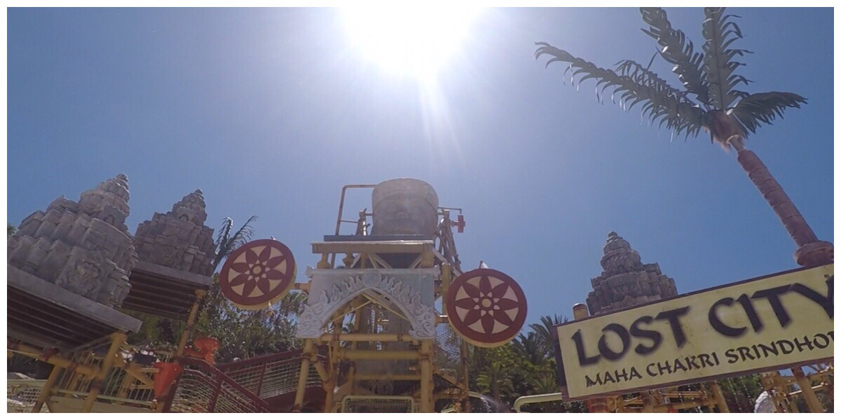 A view of the tipping monkey at the Lost City kids splashpark at Siam Park